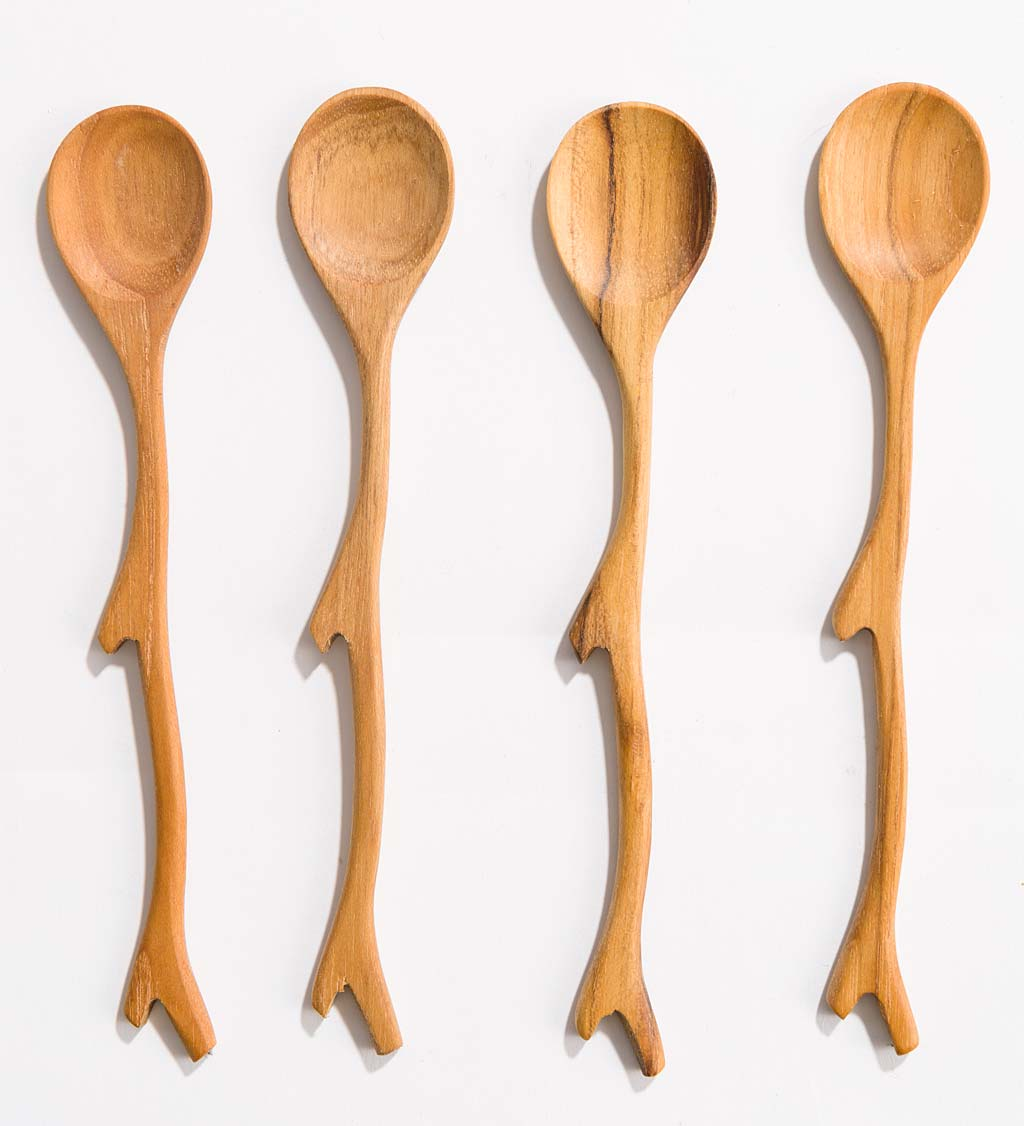 Mini Teak Wood Appetizer Utensils, Set of 4