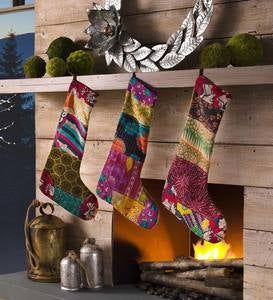 Kantha Patchwork Stocking
