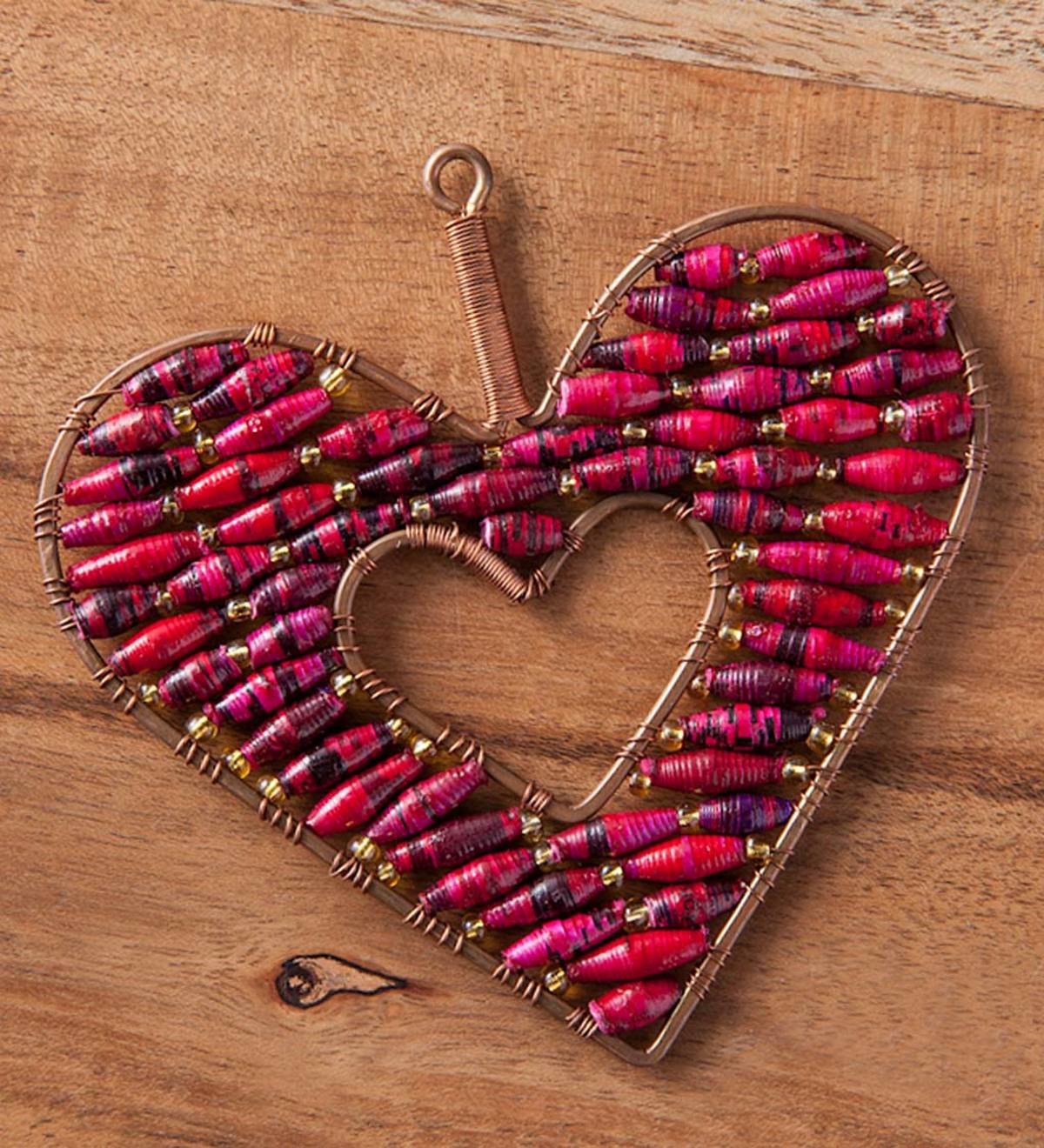 Beaded Red Open Heart Ornament