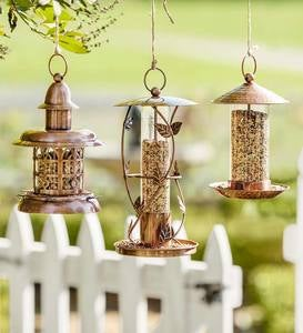 Copper Metal Lantern Bird Feeders