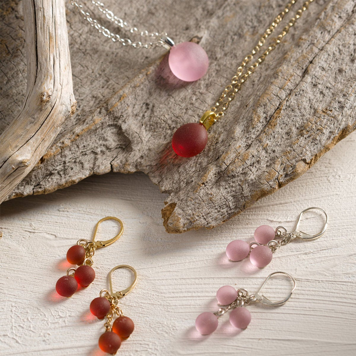 Pink & Red Sea Glass Jewelry