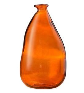 "Oblong Recycled Glass Balloon Vase, 14"" - Orange"