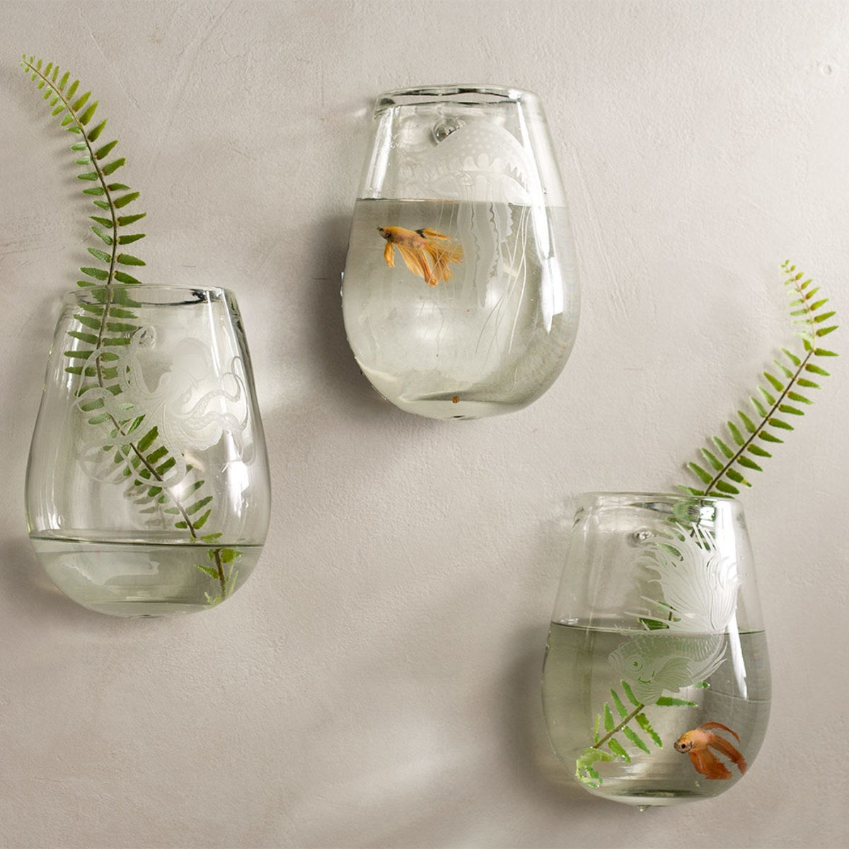Recycled Glass Aquatic Life Wall Vases