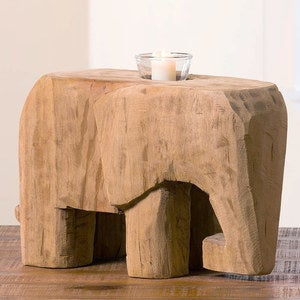 Lucky the Elephant Handcarved Sculpture with Candleholder