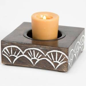 Handcarved Indian Rosewood Tealight Candle Holder