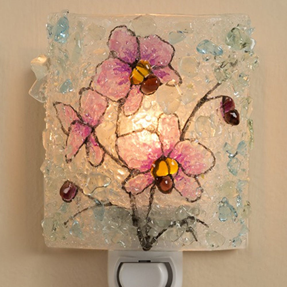 Botanical Recycled Glass Nightlights - Pink Orchid