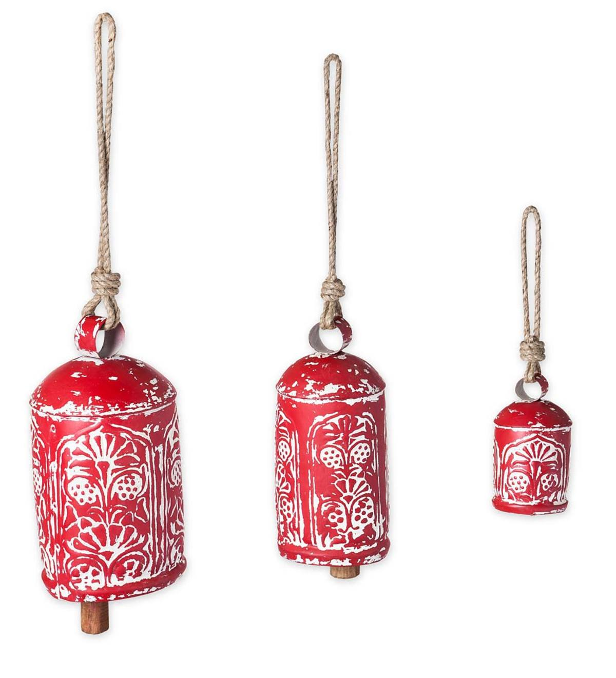 Set of 3 Handcrafted Harmony Bells - Red