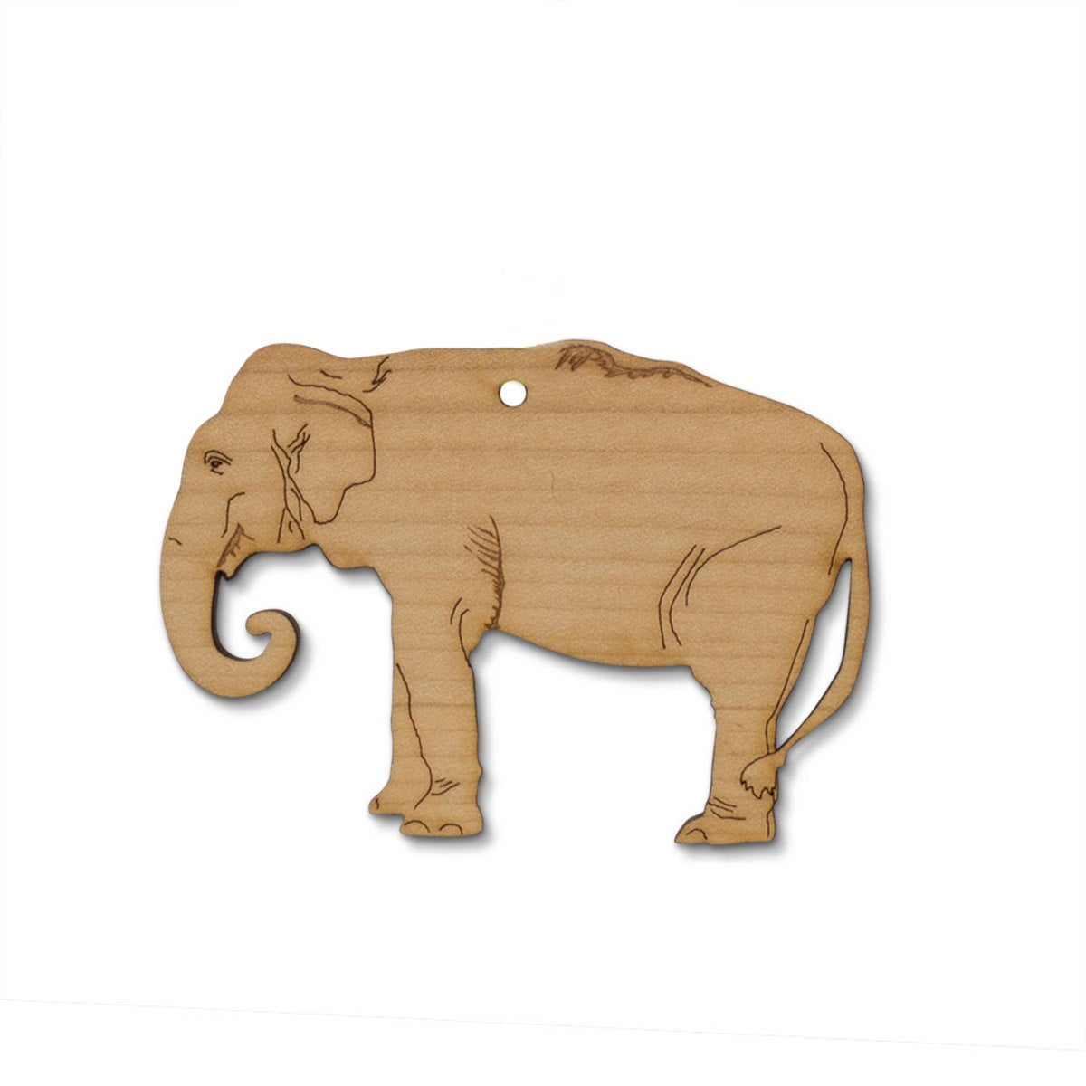 Olive Wood Laser-Cut Ornament - Elephant