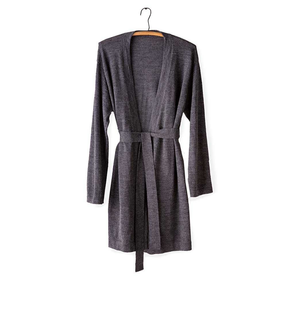 Alpaca-Blend Belted Long Cardigan - Dark Gray - X-Large