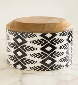 Ikat Grey Enameled Mango Wood Canister Collection
