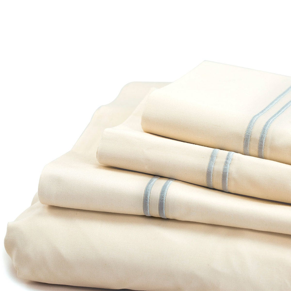 500 Thread Count Sateen Satin Stitch King Sheet Set - Ivory, Blue
