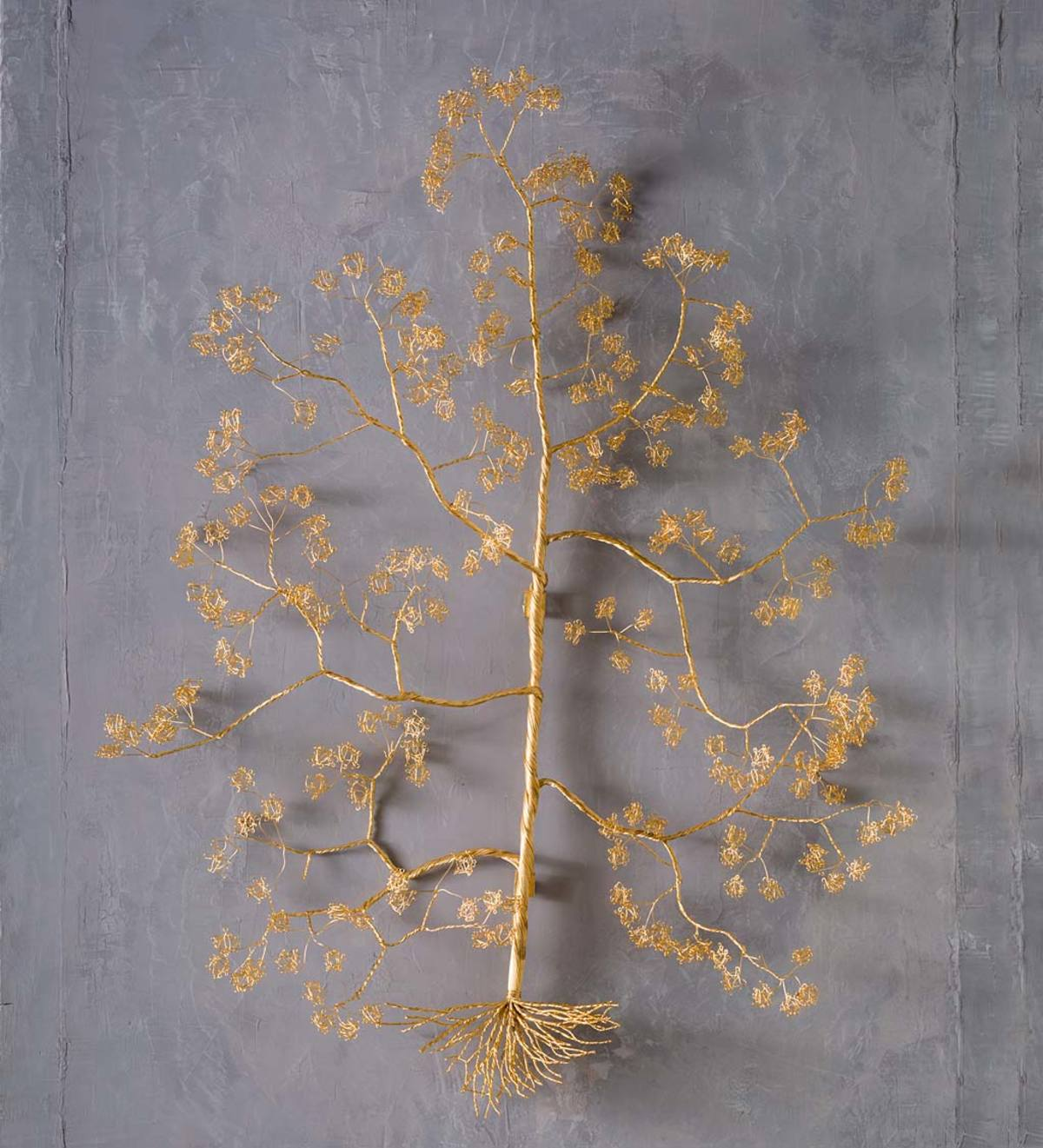 Gold Metal Wire Wishing Tree Wall Sculpture