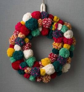 Multi-colored Pom Pom Wreath