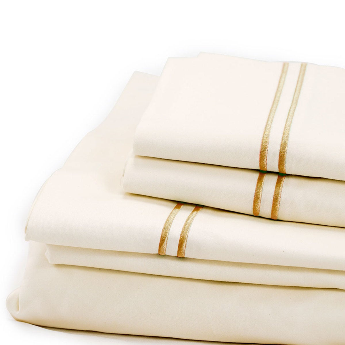 500 Thread Count Sateen Satin Stitch King Sheet Set - Ivory, Flax