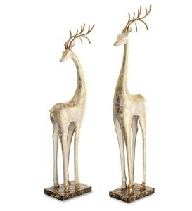 Gold and White Tall Slender Deer Statue Decor, Set of 2