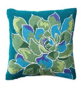 Succulent Hand-hooked Wool Pillow, Green