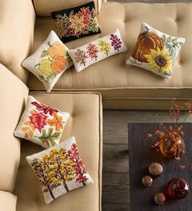 Hand-Hooked Wool Fall Simple Leaves Pillow 16""