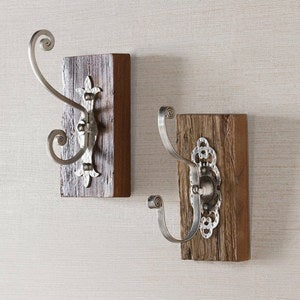 Antiqued Iron and Reclaimed Wood Wall Hook, Set of 2