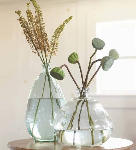 Clear Recycled Glass Balloon Vases, Set of 2 in Tall & Askew