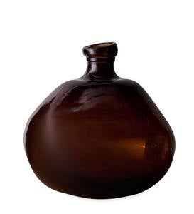 "Recycled Round Glass Balloon Vase, 13"" - Chocolate"