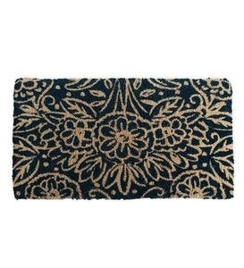 Natural Floral Design Coir Door Mat