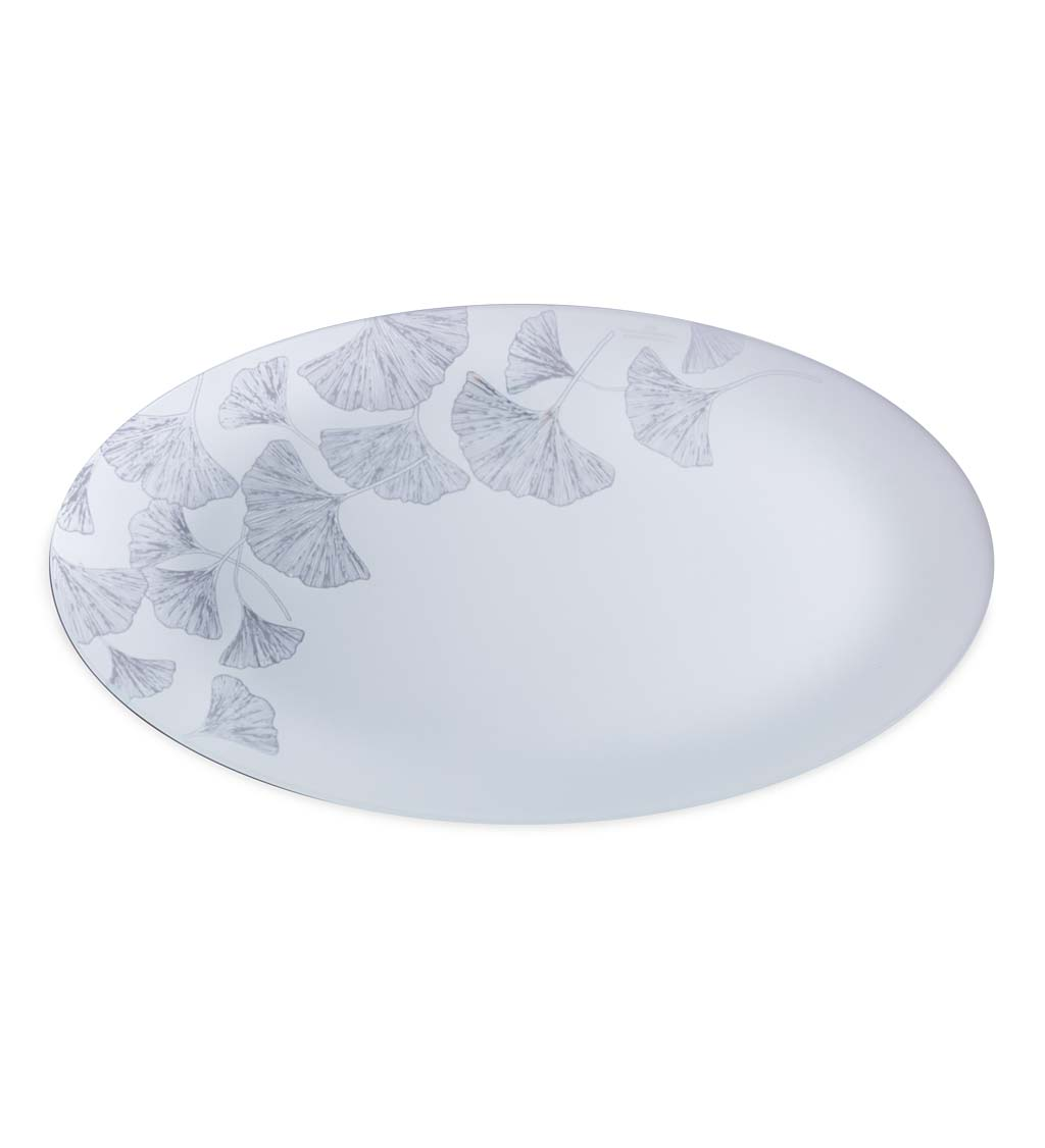 Ginkgo Etched Sea Glass Serving Platter