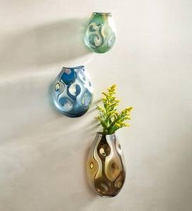 Organic-Shaped Glass Dented Wall Vases