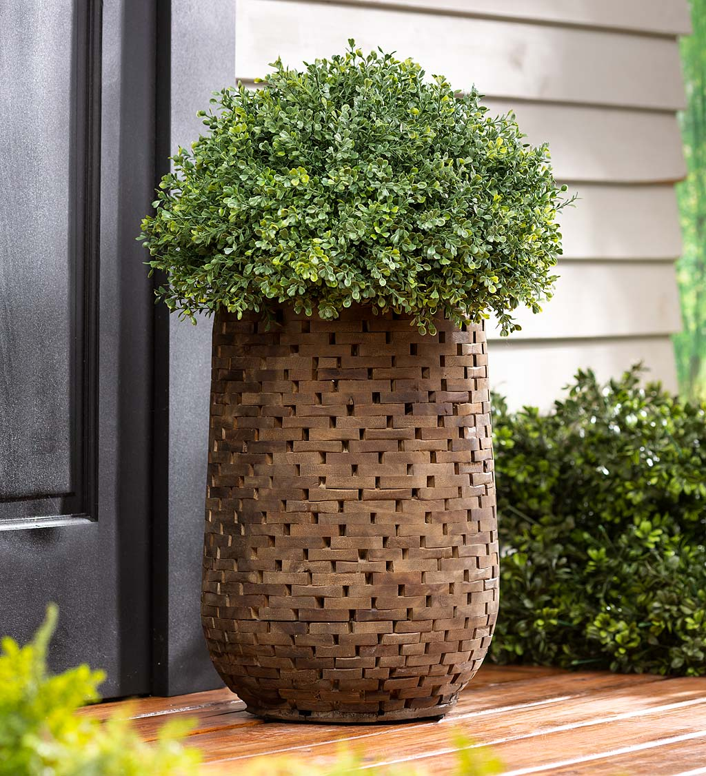 Mosaic Acacia Wood Planter, Medium
