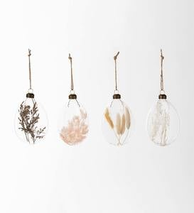 Dried Flower Filled Disk Ornaments, Set of 4