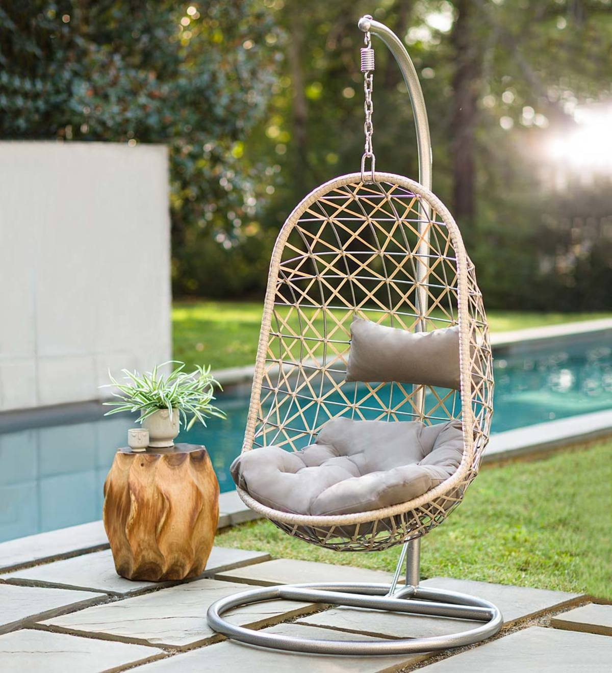 Picture of: Metal Rattan Hanging Egg Chair Vivaterra